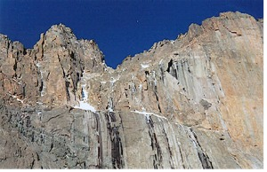 The Notch Couloir from the bottom of Lambs Slide. The Notch is on the skyline just left of center, the Notch Couloir ascends from the large snowfield to the Notch, and Broadway runs horizontally just below center. The Diamond is on the right.