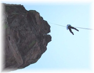 The famous rappel from the Maiden.