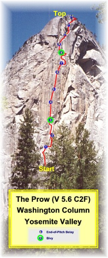 Route picture.  The Prow (V 5.6 C2F) on Washington Column, Yosemite Valley, California.  Photo by:  Nancy Stoner, Graphics by:  Scott Ghiz